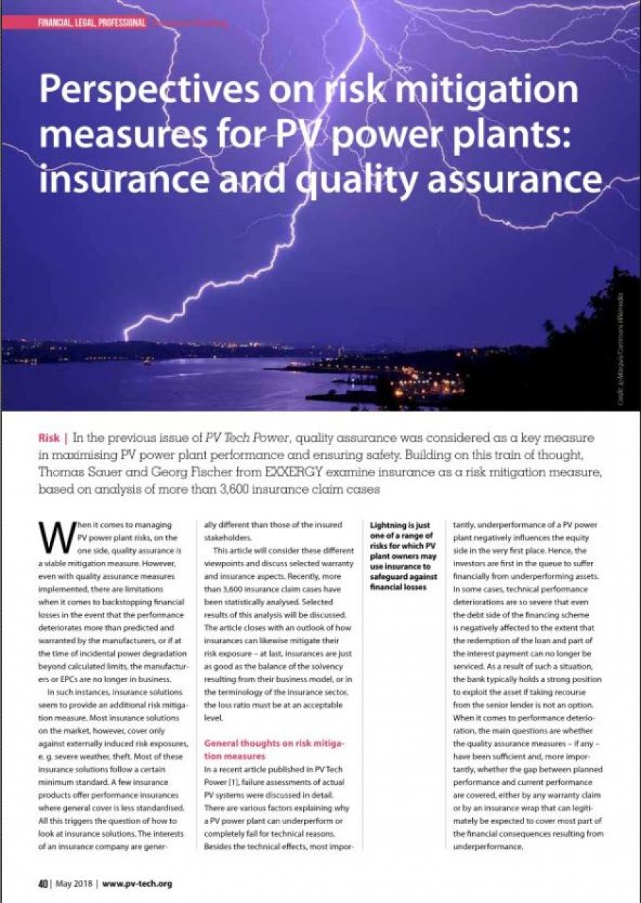 Perspectives on risk mitigation measures for PV power plants: insurance and quality assurance